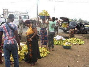 Farmers and vendors avail bananas to local consumers at Mile 16, Buea, Cameroon