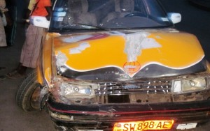 Wrecked taxi after accident