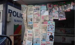 Vue d'un kiosque dans la ville de Yaoundé