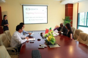 Dr. Sigalla(in dark glasses) at a working session with top management of Zenith Mining & Construction Company
