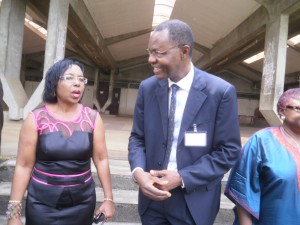 Dr Nalova Lyonga, UB VC and the representative from the Ministry of Higher Education in a chat after the forum in UB