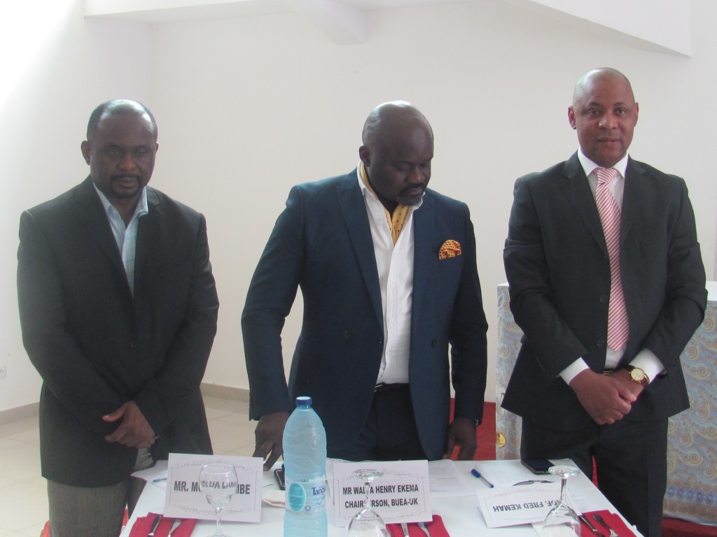 L-R Shelly Mo-Lambe, Henry Walla and Dr Fred Kemah, members of the Buea - UK Forum