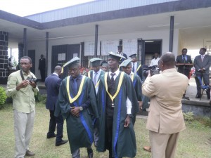 African School of Meteorology and Civil Aviation  graduating students process into the ceremonial grounds at Buea Linguistic Centre