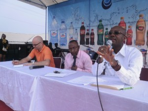 L-R the panellists - Prof John Abraham, Prof Ernest Molua & Roland Kwemain at the opening ceremony of the CUIB Fair