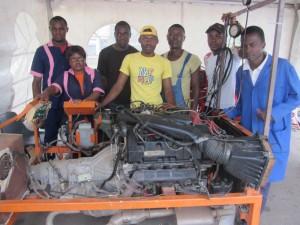 Students at Alpha Automobile Mechanics Center in Yaoundé
