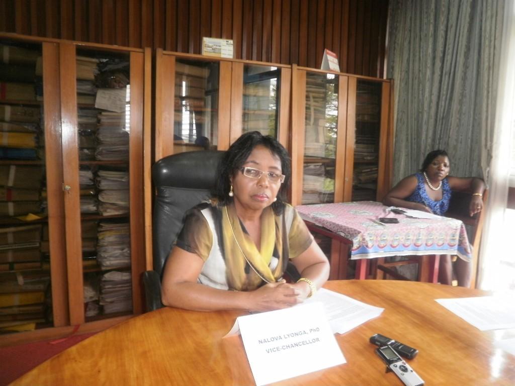 Dr. Nalova Lyonga, UB VC at the press conference