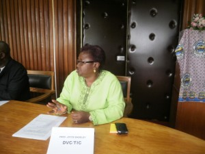 Prof. Joyce Endeley, Deputy Vice Chancellor, UB, makes a point at the press conference
