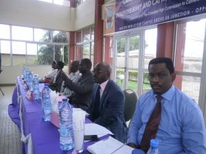 The guest speakers at the public discourse (R-L) Paul Mbafor, Edward Musoke, Simon Legah, Thomas Orock & Doris Ngum