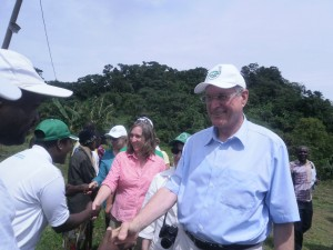 Vice President of the German Parliament, Johannes Singhammer and his delegation being welcomed in Ekonjo village