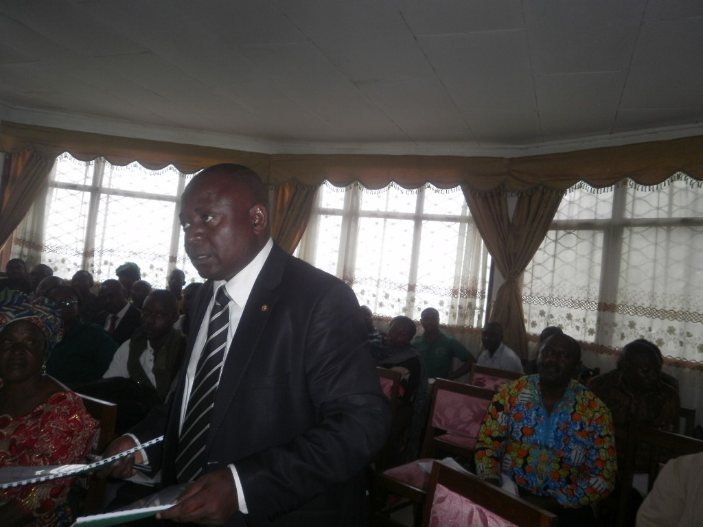 Chief William Ekong Sakwe, Mayor of Mbonge Council, makes a point at the launch of the 2014 reforestation campaign in Buea