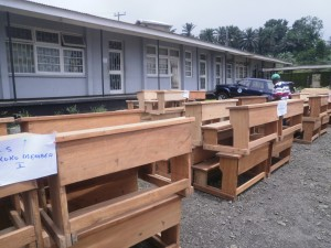 Benches destined for some nursery and primary schools in Buea Urban Constituency.