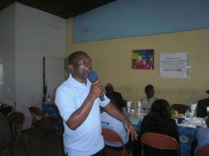 Thaddeus Eyong, Director of CERI at CUIB, explains the motive of the stakeholders' meeting