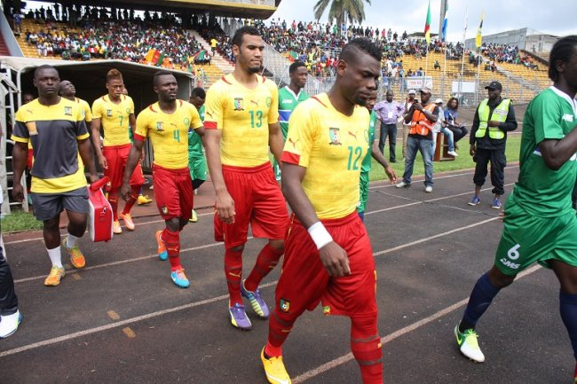 Indomitable Lions of Cameroon (in yellow t-shirts) moving on to do football battle against Sierra Leone