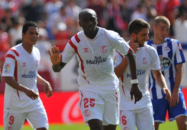 Stephane Mbia donning jersey number 25 celebrates one of his two goals over the weekend